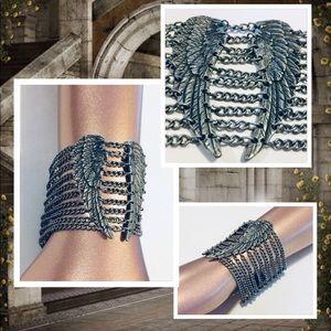Vtg Angel Wings Chain Bracelet Silver Lobster Clas